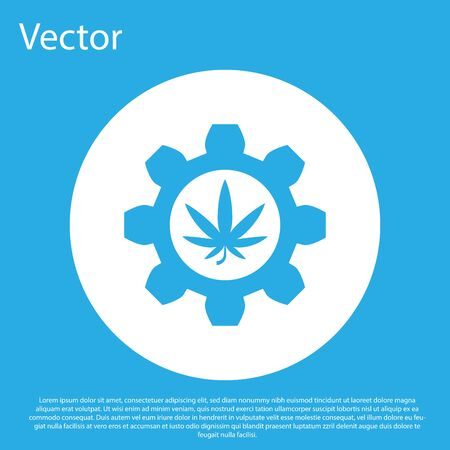 Blue Chemical test tube with marijuana or cannabis leaf icon isolated on blue background. Research concept. Laboratory CBD oil concept. White circle button. Vector Illustration