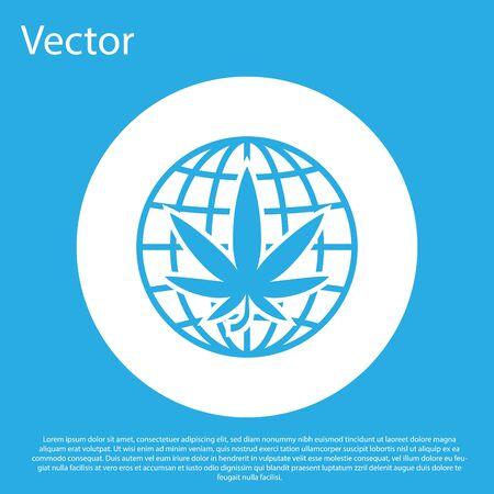 Blue Legalize marijuana or cannabis globe symbol icon isolated on blue background. Hemp symbol. White circle button. Vector Illustration Standard-Bild - 128752785