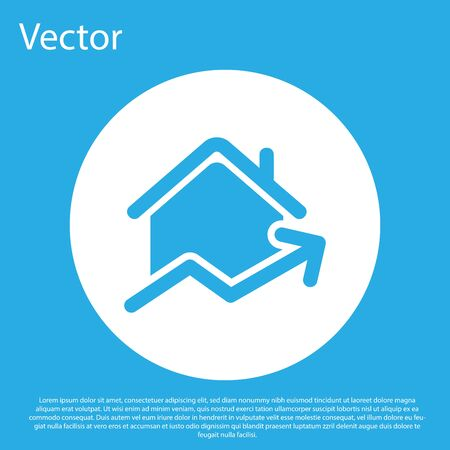 Blue Rising cost of housing icon isolated on blue background. Rising price of real estate. Residential graph increases. White circle button. Vector Illustration