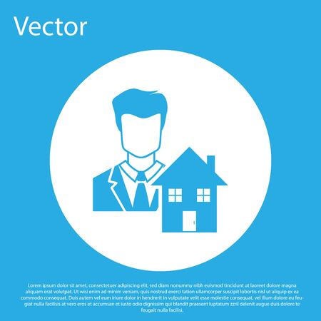 Blue Realtor icon isolated on blue background. Buying house. White circle button. Vector Illustration Illustration