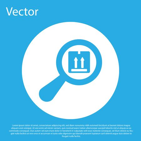 Blue Search package icon isolated on blue background. Parcel tracking symbol. Magnifying glass and cardboard box. Logistic and delivery. White circle button. Vector Illustration