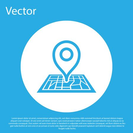 Blue Placeholder on map paper in perspective icon isolated on blue background. White circle button. Vector Illustration Standard-Bild - 128753416