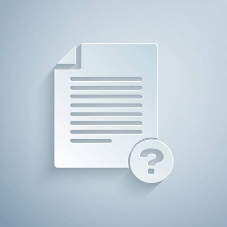 Paper cut Unknown document icon isolated on grey background. File with Question mark. Hold report, service and global search sign. Paper art style. Vector Illustration