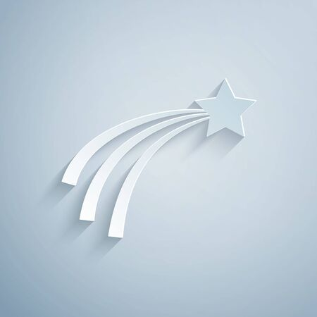 Paper cut Falling star icon isolated on grey background. Shooting star with star trail. Meteoroid, meteorite, comet, asteroid, star icon. Paper art style. Vector Illustration 일러스트