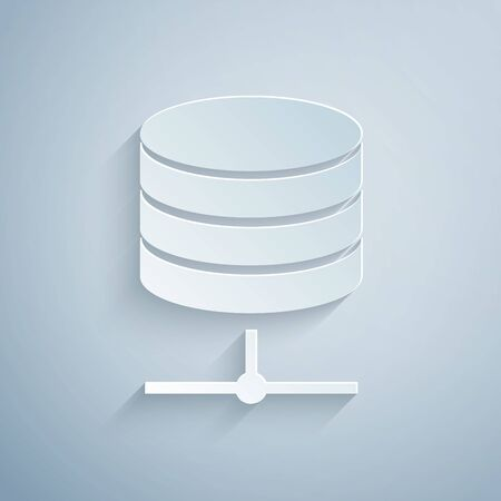 Paper cut Server, Data, Web Hosting icon isolated on grey background. Paper art style. Vector Illustration