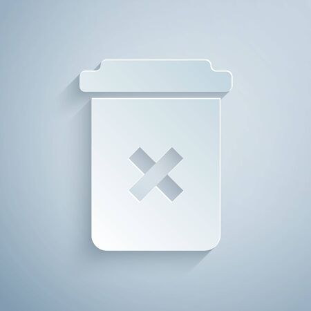 Paper cut Trash can icon isolated on grey background. Delete icon. Garbage bin sign. Recycle basket icon. Office trash icon. Paper art style.