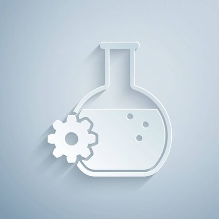 Paper cut Bioengineering icon isolated on grey background. Element of genetics and bioengineering icon. Biology, molecule, chemical icon. Paper art style. Vector Illustration Stock Illustratie