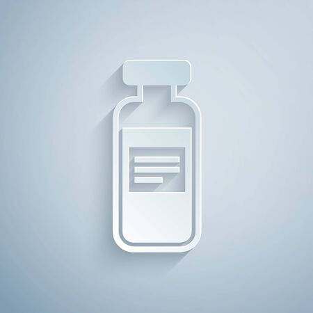 Paper cut Medical vial, ampule, bottle icon isolated on grey background. Vaccination, injection, vaccine healthcare concept. Paper art style. Vector Illustration Ilustrace