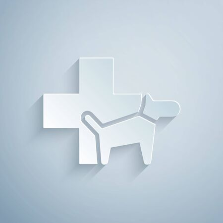 Paper cut Veterinary clinic symbol icon isolated on grey background. Cross with dog veterinary care. Pet First Aid sign. Paper art style. Vector Illustration