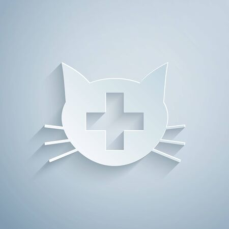 Paper cut Veterinary clinic symbol icon isolated on grey background. Cross with cat veterinary care. Pet First Aid sign. Paper art style. Vector Illustration  イラスト・ベクター素材