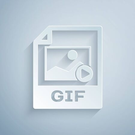 Paper cut GIF file document. Download gif button icon isolated on grey background. GIF file symbol. Paper art style. Vector Illustration