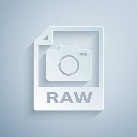 Paper cut RAW file document. Download raw button icon isolated on grey background. RAW file symbol. Paper art style. Vector Illustration Ilustracja