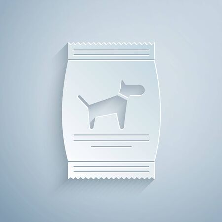 Paper cut Bag of food for dog icon isolated on grey background. Food for animals. Pet food package. Paper art style. Vector Illustration