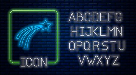 Glowing neon Falling star icon isolated on brick wall background. Shooting star with star trail. Meteoroid, meteorite, comet, asteroid, star icon. Neon light alphabet. Vector Illustration