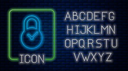 Glowing neon Padlock with clock icon isolated on brick wall background. Time control concept. Lock and countdown, deadline, schedule, planning symbol. Neon light alphabet. Vector Illustration