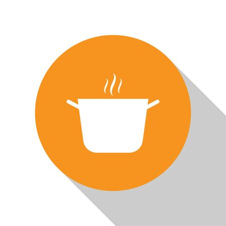 White Cooking pot icon isolated on white background. Boil or stew food symbol. Orange circle button. Vector Illustration
