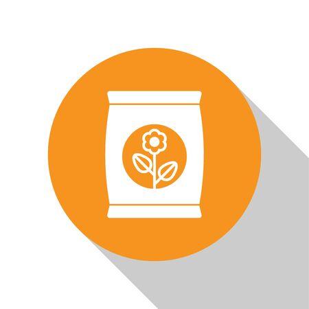 White Fertilizer bag icon isolated on white background. Orange circle button. Vector Illustration