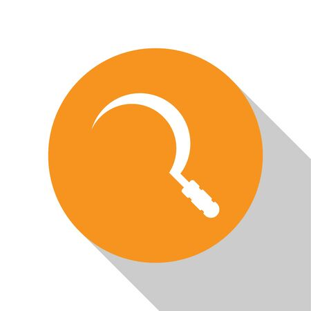 White Sickle icon isolated on white background. Reaping hook sign. Orange circle button. Vector Illustration 向量圖像