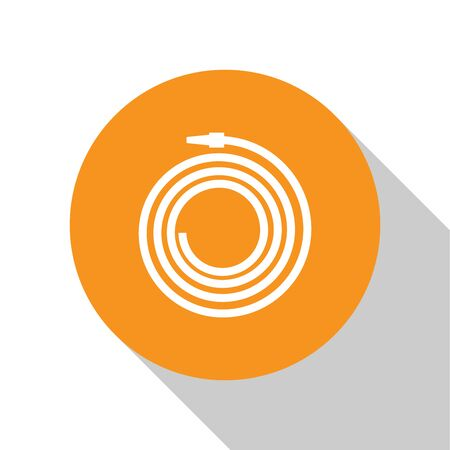 White Garden hose or fire hose icon isolated on white background. Spray gun icon. Watering equipment. Orange circle button. Vector Illustration Illusztráció
