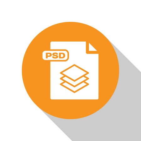 White PSD file document. Download psd button icon isolated on white background. PSD file symbol. Orange circle button. Vector Illustration Illustration