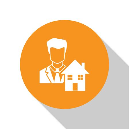 White Realtor icon isolated on white background. Buying house. Orange circle button. Vector Illustration Illustration