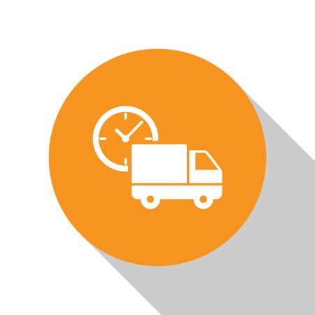 White Logistics delivery truck and clock icon isolated on white background. Delivery time icon. Orange circle button. Vector Illustration Illusztráció