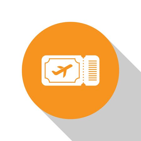 White Airline ticket icon isolated on white background. Plane ticket. Orange circle button. Vector Illustration