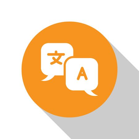 White Translator icon isolated on white background. Foreign language conversation icons in chat speech bubble. Translating concept. Orange circle button. Vector Illustration Ilustração
