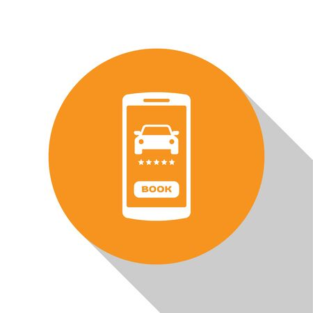 White Online car sharing icon isolated on white background. Online rental car service. Online booking design concept for mobile phone. Orange circle button. Vector Illustration Ilustração
