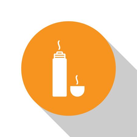 White Thermos container icon isolated on white background. Thermo flask icon. Camping and hiking equipment. Orange circle button. Vector Illustration