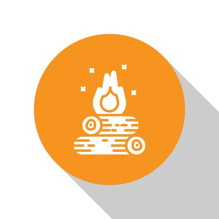 White Campfire icon isolated on white background. Burning bonfire with wood. Orange circle button. Vector Illustration Ilustração