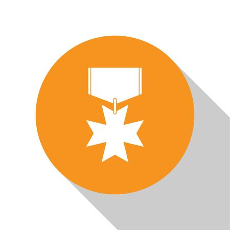 White Military reward medal icon isolated on white background. Army sign. Orange circle button. Vector Illustration