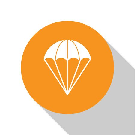 White Parachute icon isolated on white background. Orange circle button. Vector Illustration Ilustração