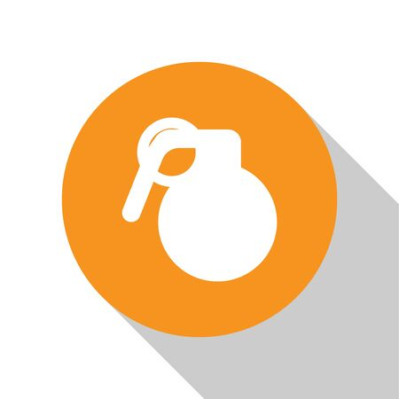 White Hand grenade icon isolated on white background. Bomb explosion. Orange circle button. Vector Illustration