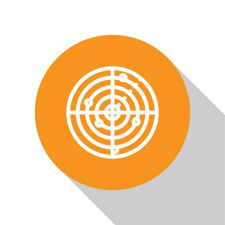 White Radar with targets on monitor in searching icon isolated on white background. Military search system. Navy sonar. Orange circle button. Vector Illustration