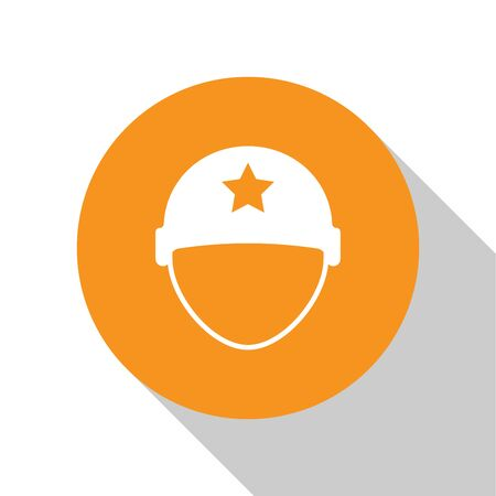 White Military helmet icon isolated on white background. Army hat symbol of defense and protect. Protective hat. Orange circle button. Vector Illustration
