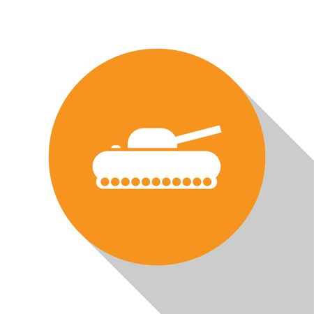 White Military tank icon isolated on white background. Orange circle button. Vector Illustration