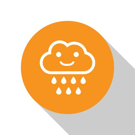 White Cloud with rain icon isolated on white background. Rain cloud precipitation with rain drops. Orange circle button. Vector Illustration