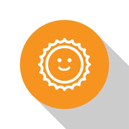 White Sun icon isolated on white background. Orange circle button. Vector Illustration