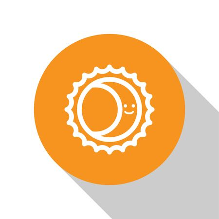 White Eclipse of the sun icon isolated on white background. Total sonar eclipse. Orange circle button. Vector Illustration