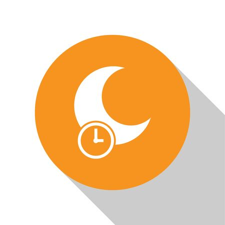 White Sleeping moon icon isolated on white background. Orange circle button. Vector Illustration