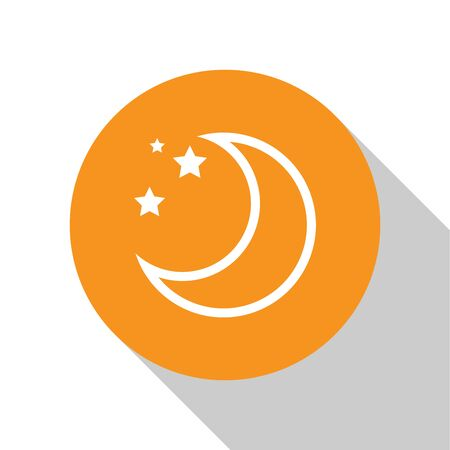 White Moon and stars icon isolated on white background. Orange circle button. Vector Illustration Ilustração