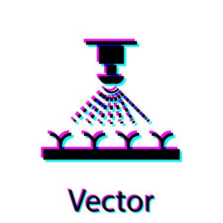 Black Automatic irrigation sprinklers icon isolated on white background. Watering equipment. Garden element. Spray gun icon. Vector Illustration Illusztráció