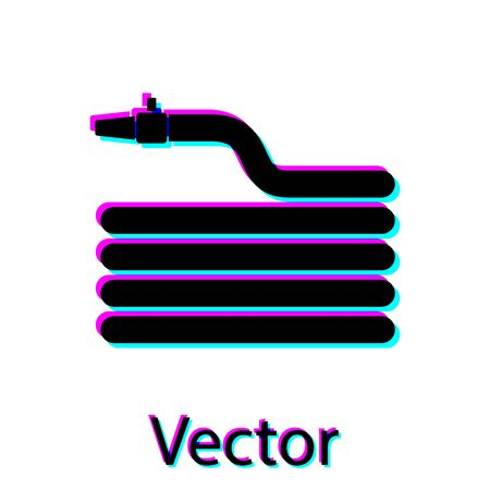 Black Garden hose or fire hose icon isolated on white background. Spray gun icon. Watering equipment. Vector Illustration Illusztráció