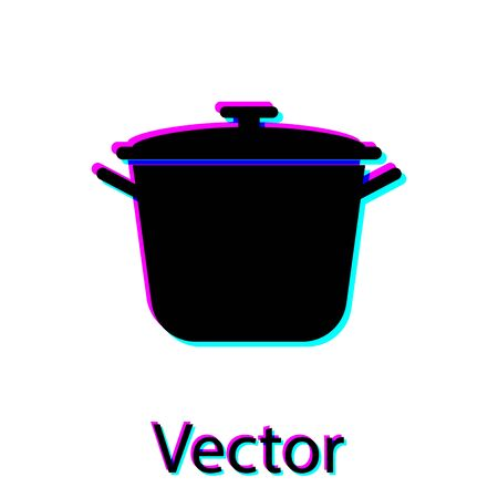 Black Cooking pot icon isolated on white background. Boil or stew food symbol. Vector Illustration Stock Vector - 128912145