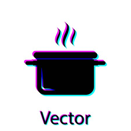 Black Cooking pot icon isolated on white background. Boil or stew food symbol. Vector Illustration Stock Vector - 128912150