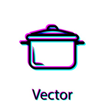 Black Cooking pot icon isolated on white background. Boil or stew food symbol. Vector Illustration Stock Vector - 128912151