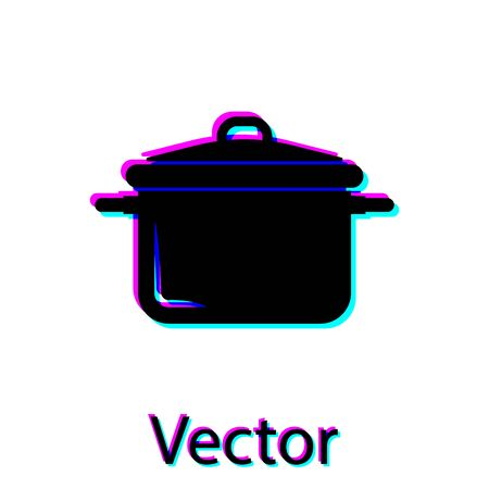Black Cooking pot icon isolated on white background. Boil or stew food symbol. Vector Illustration Illustration