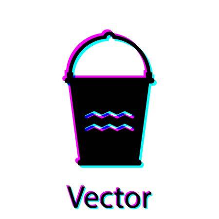 Black Bucket icon isolated on white background. Vector Illustration