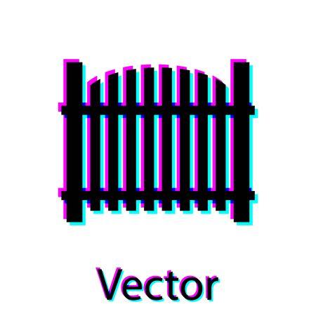 Black Garden fence wooden icon isolated on white background. Vector Illustration Illustration